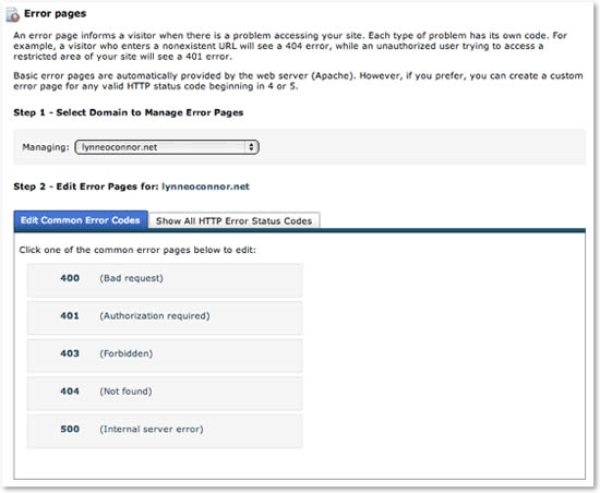 cpanel-custom-error-pages