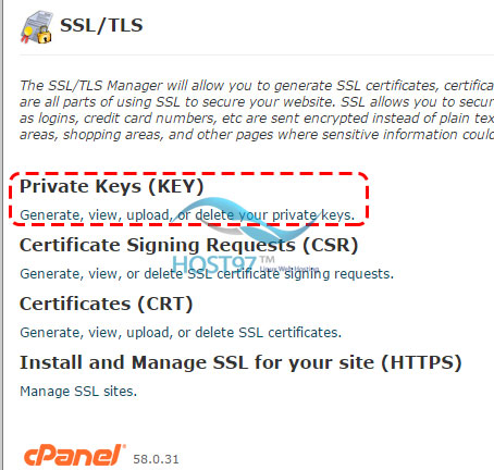 نصب ssl - private keys